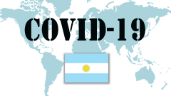 Covid-19 text with Argentina Flag