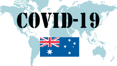 Covid-19 text with Australia Flag