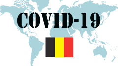 Covid-19 text with Belgium Flag