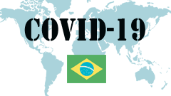 Covid-19 text with Brazil Flag