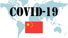 Covid-19 text with China Flag