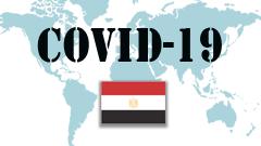 Covid-19 text with Egypt Flag