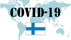 Covid-19 text with Finland Flag