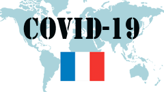 Covid-19 text with France Flag