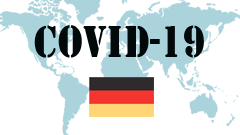 Covid-19 text with Germany Flag