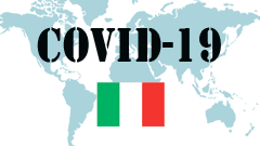 Covid-19 text with Italy Flag