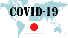 Covid-19 text with Japan Flag