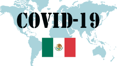 Covid-19 text with Mexico Flag