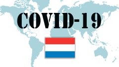 Covid-19 text with Netherlands Flag