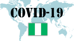 Covid-19 text with Nigeria Flag