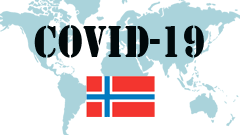 Covid-19 text with Norway Flag