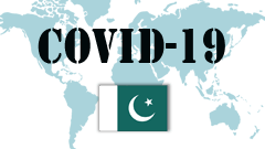 Covid-19 text with Pakistan Flag
