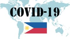 Covid-19 text with Philippines Flag