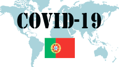 Covid-19 text with Portugal Flag