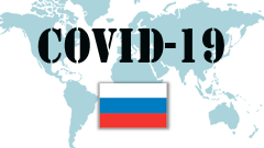 Covid-19 text with Russia Flag