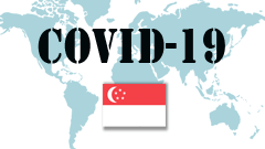Covid-19 text with Singapore Flag