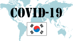 Covid-19 text with South Korea Flag