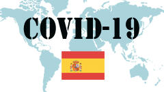 Covid-19 text with Spain Flag