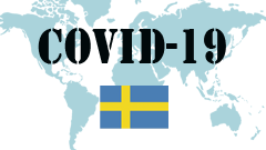 Covid-19 text with Sweden Flag