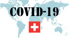 Covid-19 text with Switzerland Flag