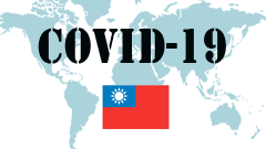 Covid-19 text with Taiwan Flag