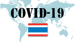 Covid-19 text with Thailand Flag
