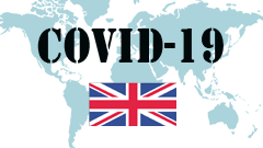 Covid-19 text with United Kingdom Flag