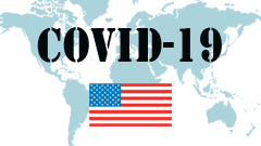 Covid-19 text with U.S. Flag