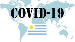 Covid-19 text with Uruguay Flag